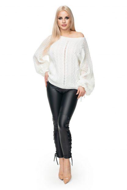 Sweter oversize ażurowy kremowy