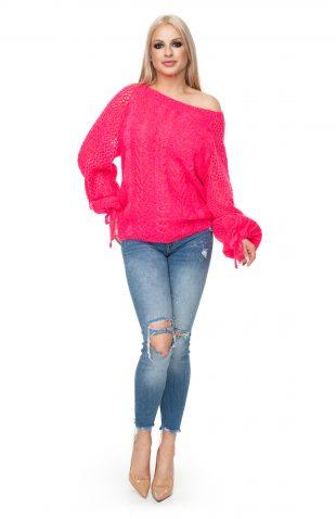 Sweter oversize ażurowy neonowy róż
