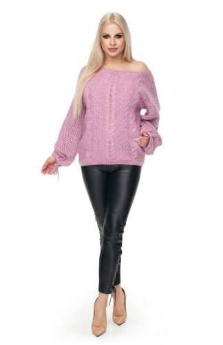 Sweter oversize ażurowy lila