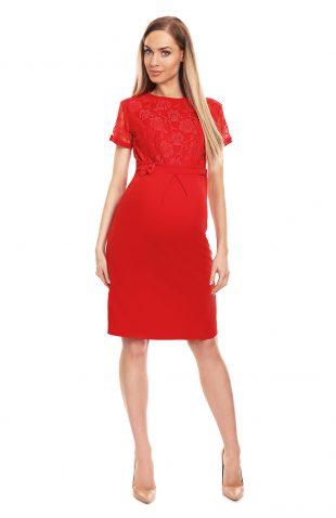 Sukienka ciążowa wizytowa czerwona