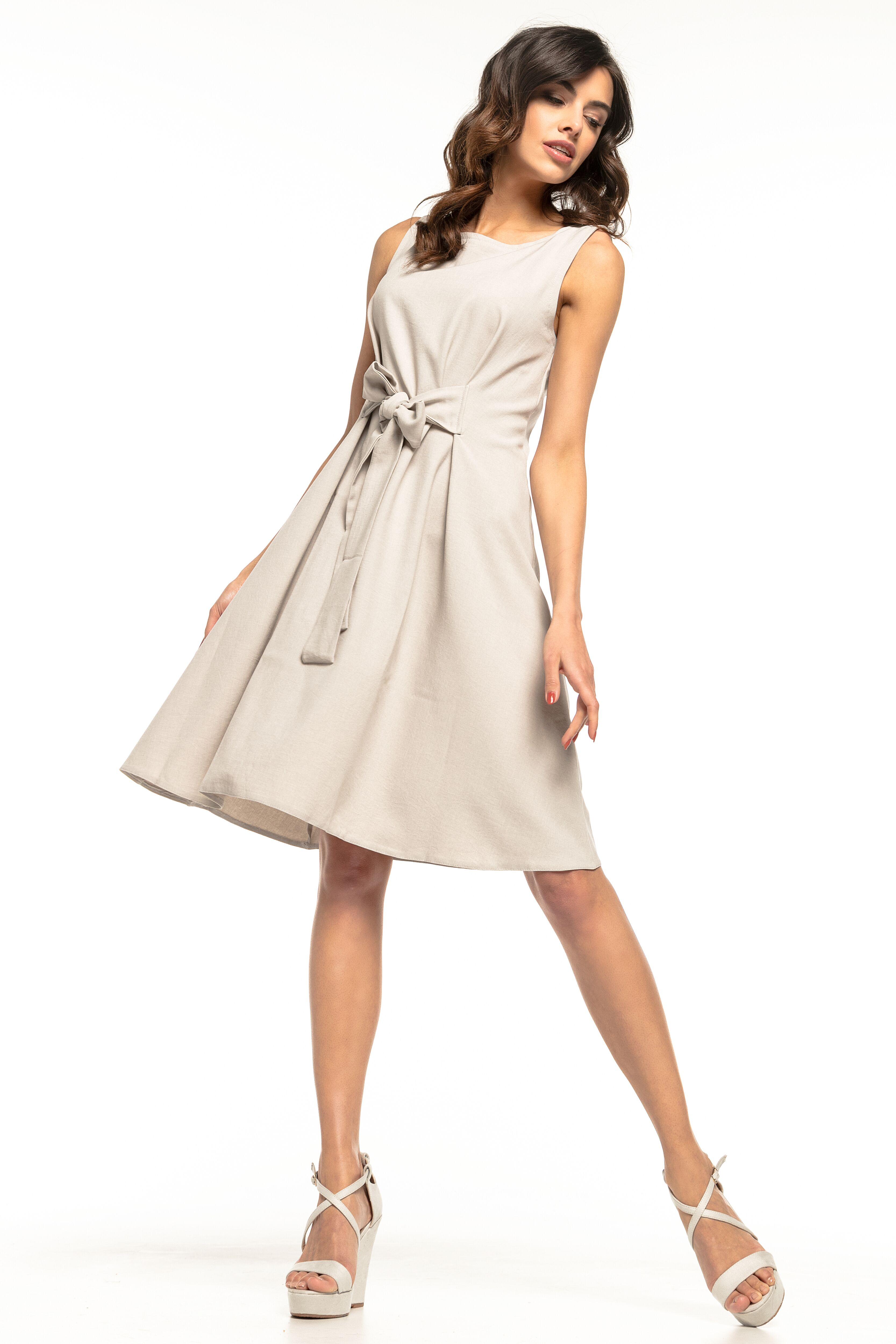 8814e3c58fda53 Sukienka rozkloszowana bez rękawów szara - tani kurier już od 5,99 zł