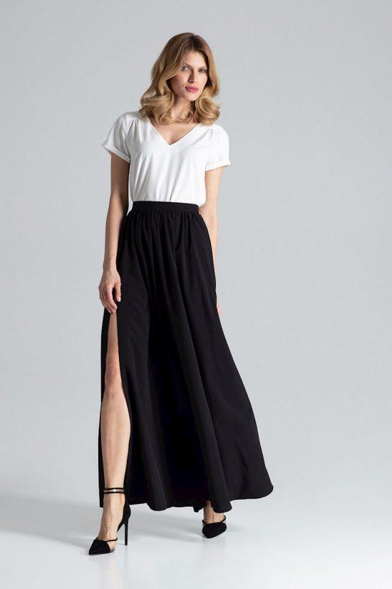 Spódnica maxi z rozcięciami czarna