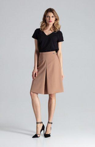 Spódnica rozkloszowana elegancka brązowa