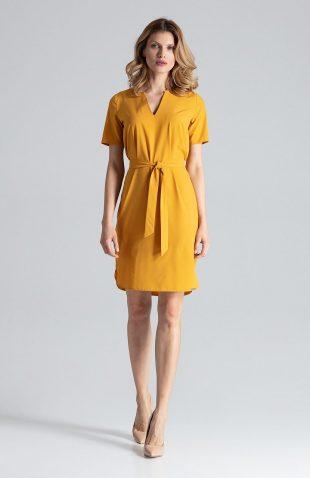 Sukienka ołówkowa do biura musztardowa