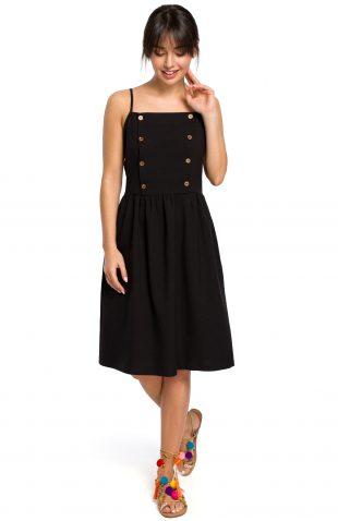 Sukienka na ramiączkach za kolano czarna