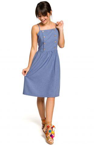Sukienka na ramiączkach za kolano niebieska