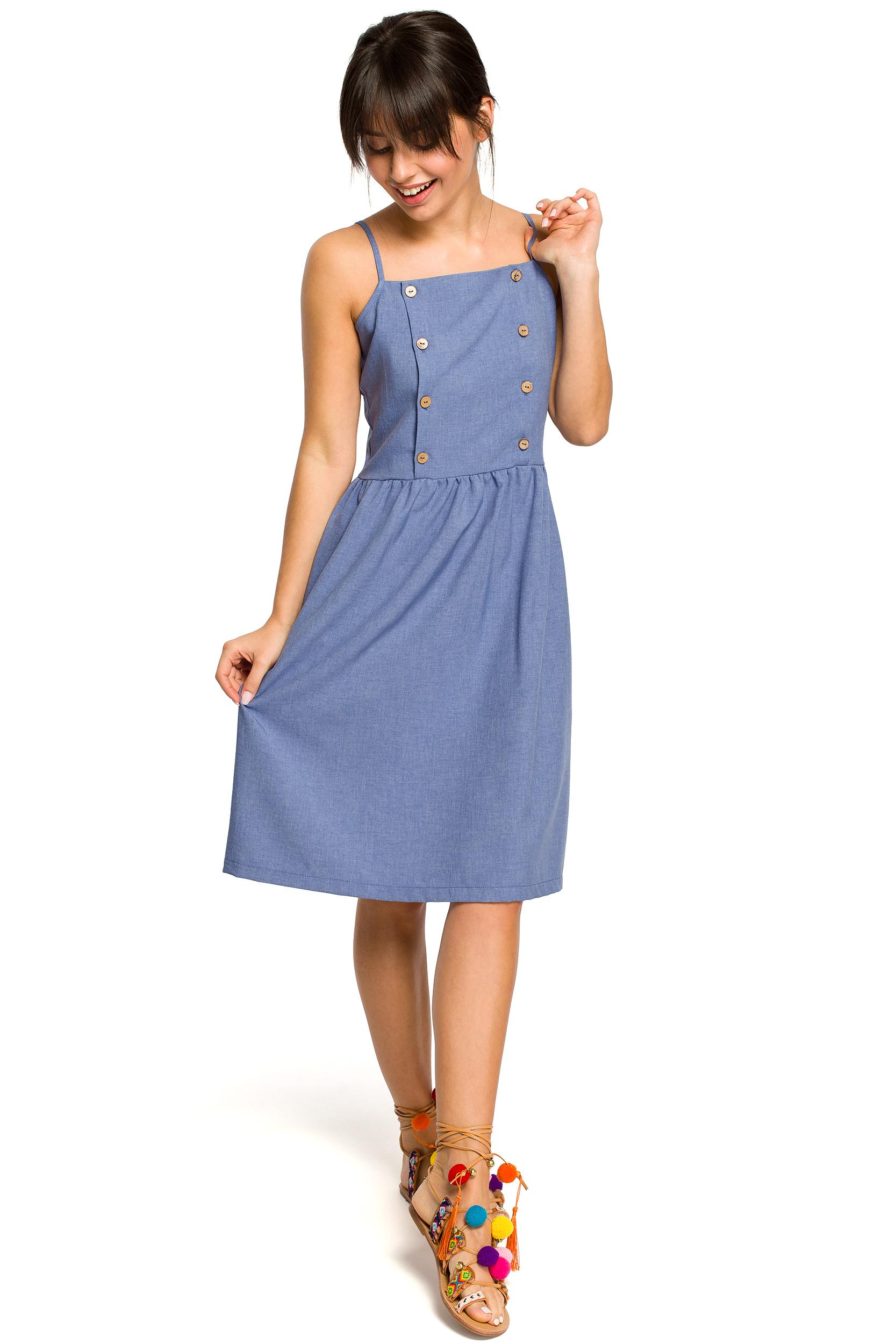 71146fcd15 Sukienka na ramiączkach za kolano niebieska - tani kurier już od 5