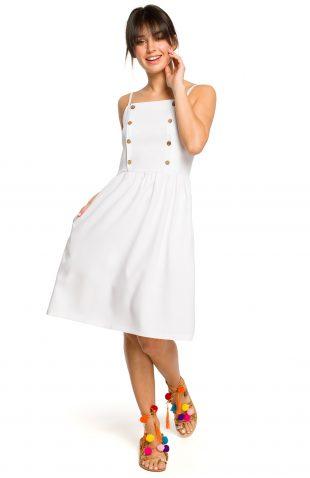 Sukienka na ramiączkach za kolano biała