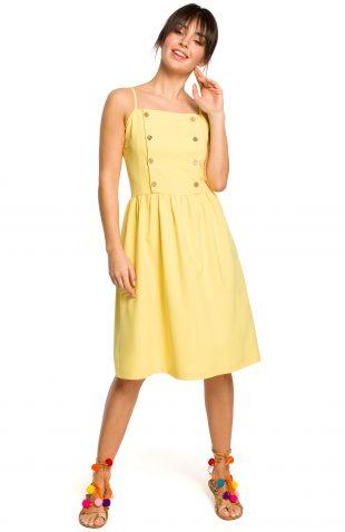 Sukienka na ramiączkach za kolano żółta