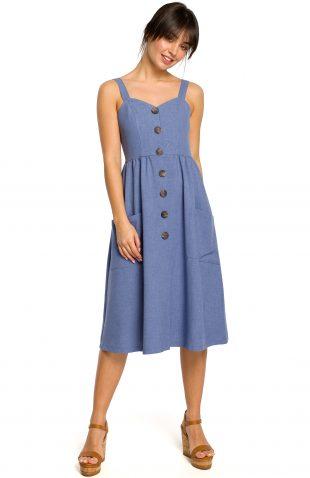 Sukienka na ramiączkach midi niebieska