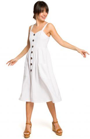 Sukienka na ramiączkach midi biała