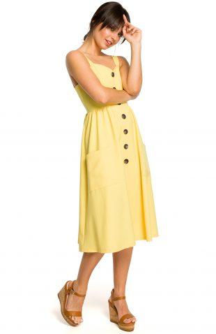 Sukienka na ramiączkach midi żółta