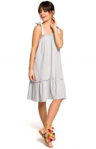 Sukienka na ramiączka na lato szara
