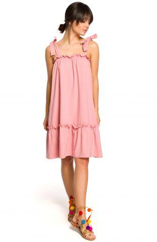 Sukienka na ramiączka na lato różowa