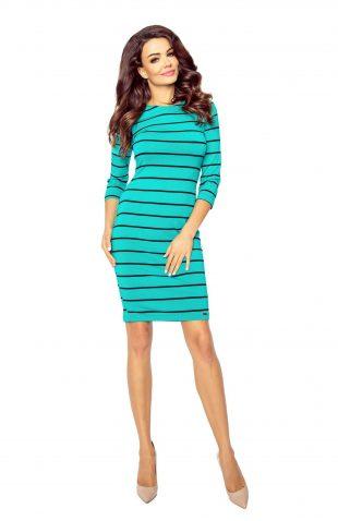 Sukienka ołówkowa w paski zielona