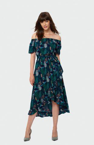 Sukienka midi z falbaną we wzory