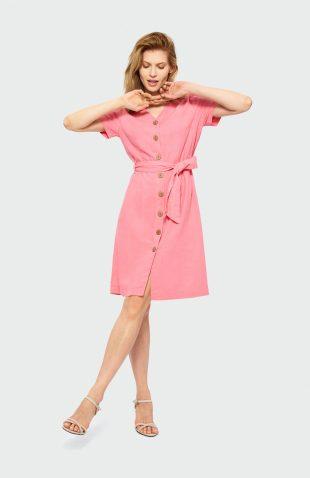 Sukienka koszulowa do pracy różowa