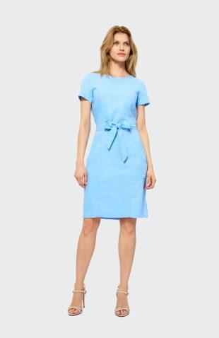 Sukienka do kolan z lnem błękitna