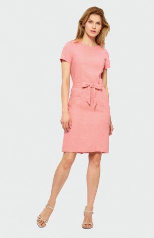 Sukienka do kolan z lnem różowa