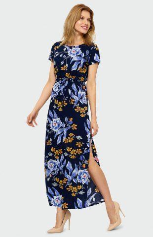 Sukienka maxi w kwiaty granat