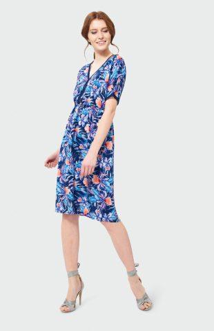 Sukienka midi z dekoltem V we wzory