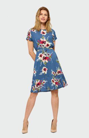 Sukienka taliowana w kwiaty
