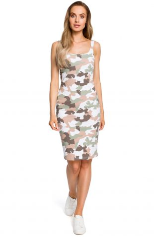 Sukienka dopasowana militarna ecru