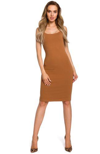 Sukienka dopasowana na ramiączka karmel