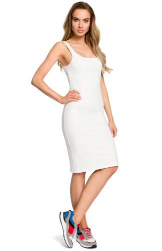 Sukienka dopasowana na ramiączka ecru