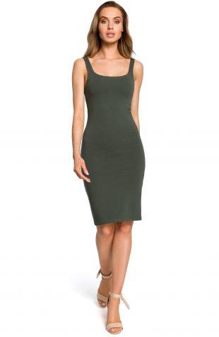 Sukienka dopasowana na ramiączka khaki