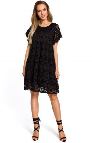 Sukienka trapezowa z koronki czarna