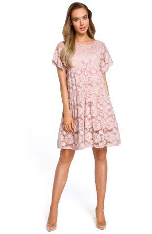 Sukienka trapezowa z koronki różowa