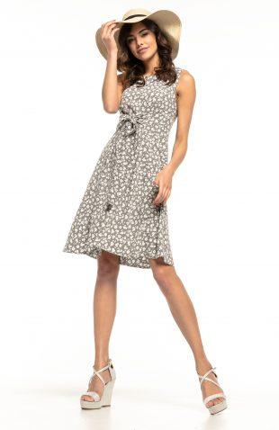Sukienka rozkloszowana bez rękawów szary