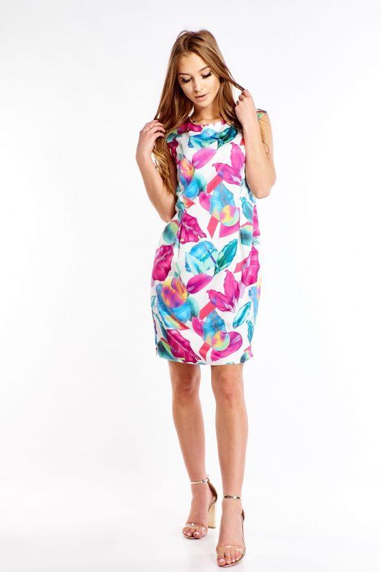 Sukienka ołówkowa elegancka we wzory