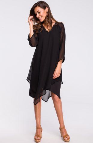 Sukienka szyfonowa elegancka czarna