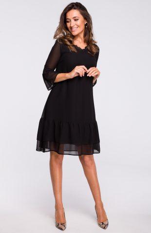 Sukienka szyfonowa do kolan czarna