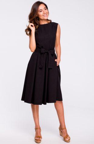 Sukienka rozkloszowana bez rękawów czarna