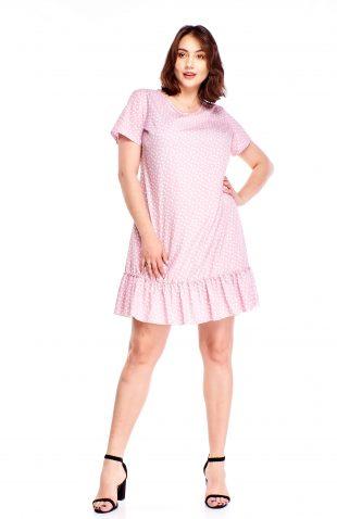 Sukienka z falbaną w groszki