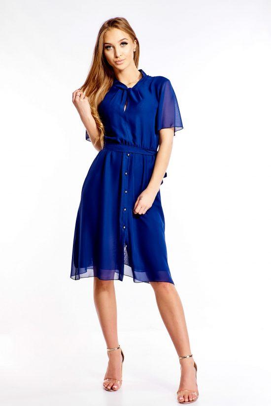 Sukienka wizytowa do kolan niebieska
