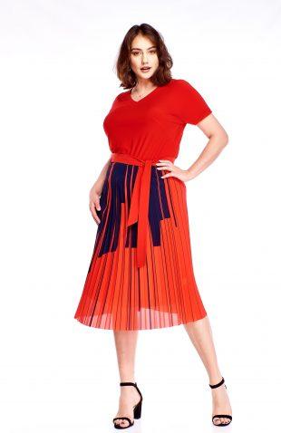 Sukienka plisowana midi czerwona