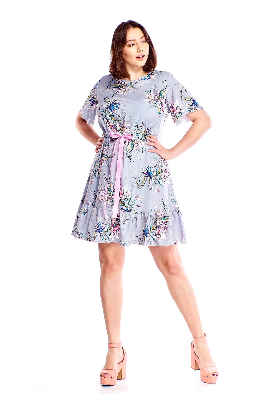 4814790ea3 Sukienka rozkloszowana w kwiaty - szyta w Polsce - kurier od 5
