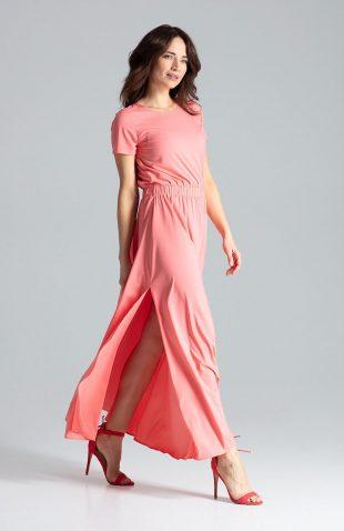 Sukienka maxi z rozcięciem różowa