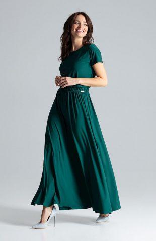 Sukienka maxi z rozcięciem zielona