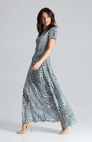 Sukienka maxi z rozcięciem we wzory