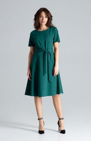 Sukienka rozkloszowana elegancka zielona
