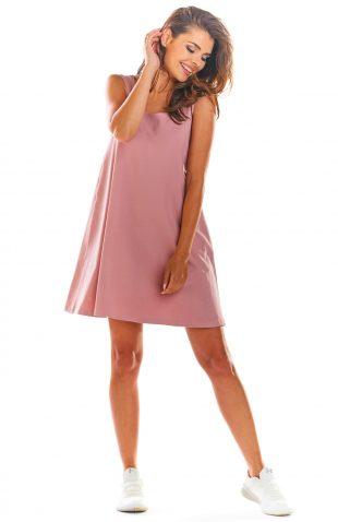 Sukienka z odkrytymi plecami różowa