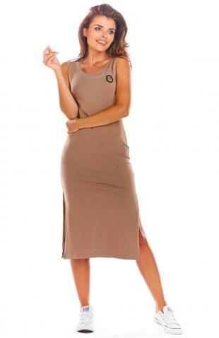 Sukienka bawełniana na ramiączka beżowa