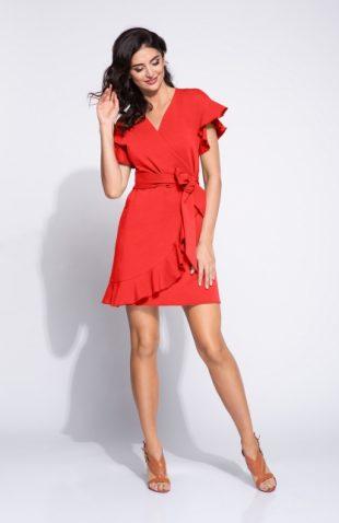 Sukienka kopertowa z falbanami czerwona