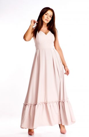 Sukienka maxi na wesele beżowa
