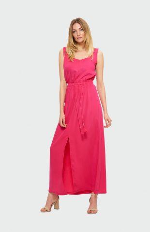 Sukienka na ramiączka maxi malinowa